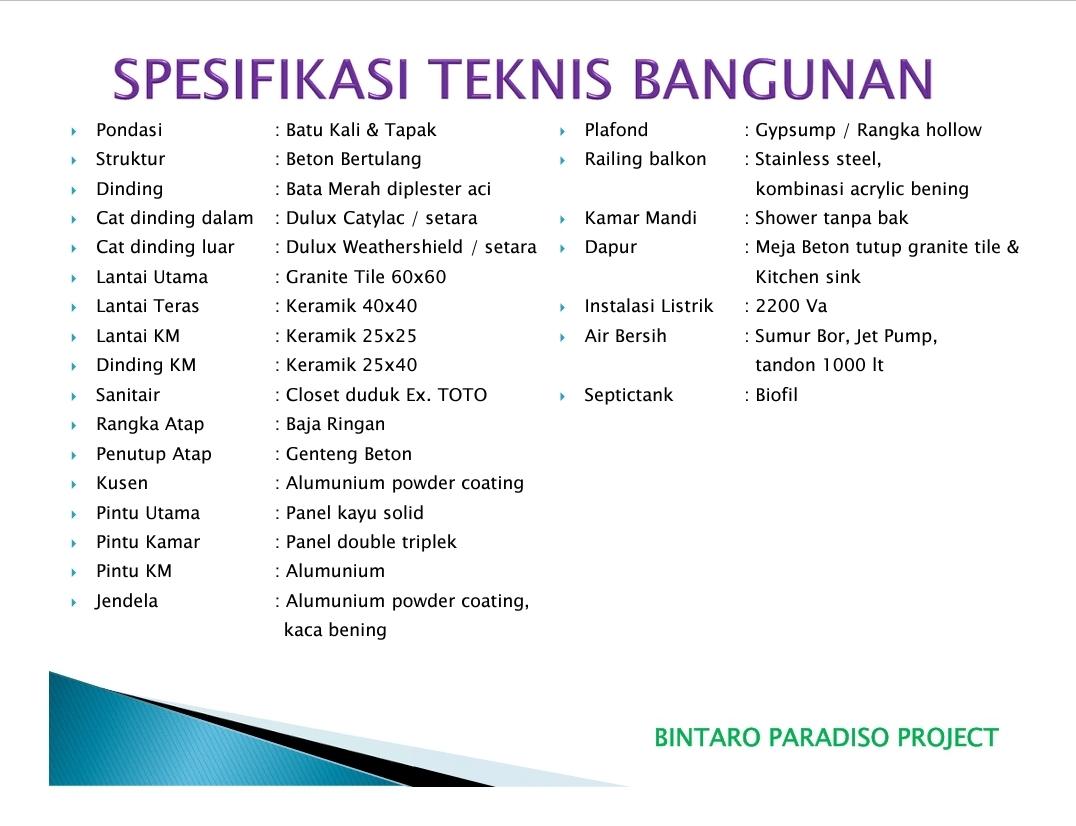 Spesifikasi - Bintaro Paradiso - Rumah Cluster Bintaro Sektor 3A Tangerang